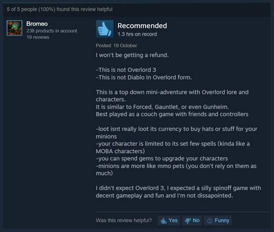 Overlord Steam reviews 6