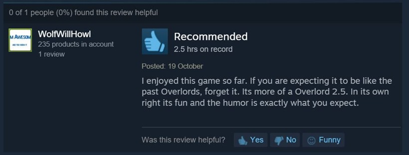 Overlord Steam reviews 7