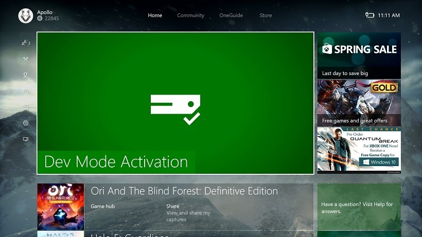 Dev Mode finally out for Xbox One