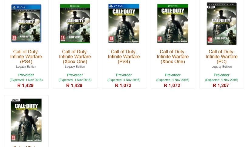Call of Duty Infinite Warfare Retail Prices