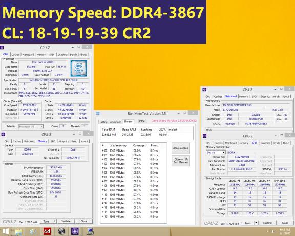 G.SKILL DDR4-3866MHz 32GB (8GBx4) test screen