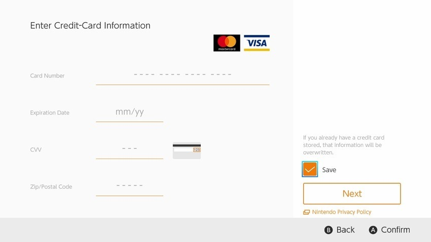 Nintendo allows storing of credit card information on Switch
