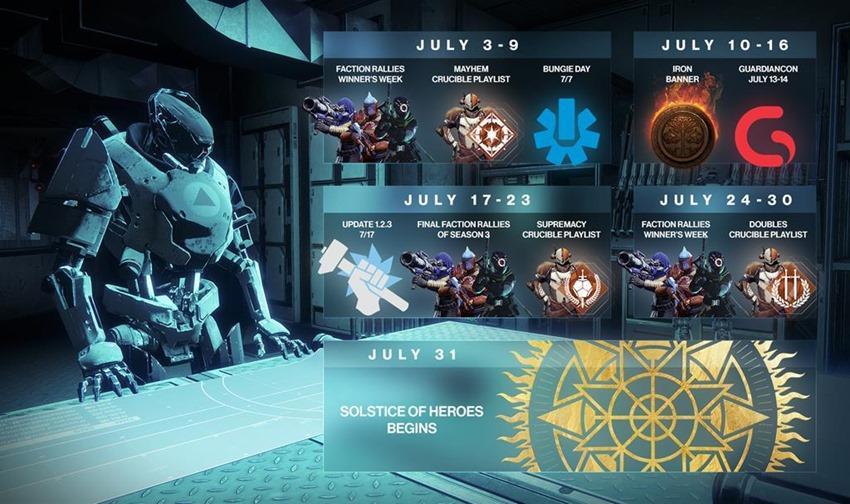 Destiny July calendar