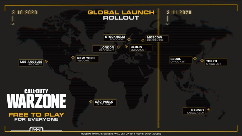 Call of Duty Warzone Global Launch Rollout