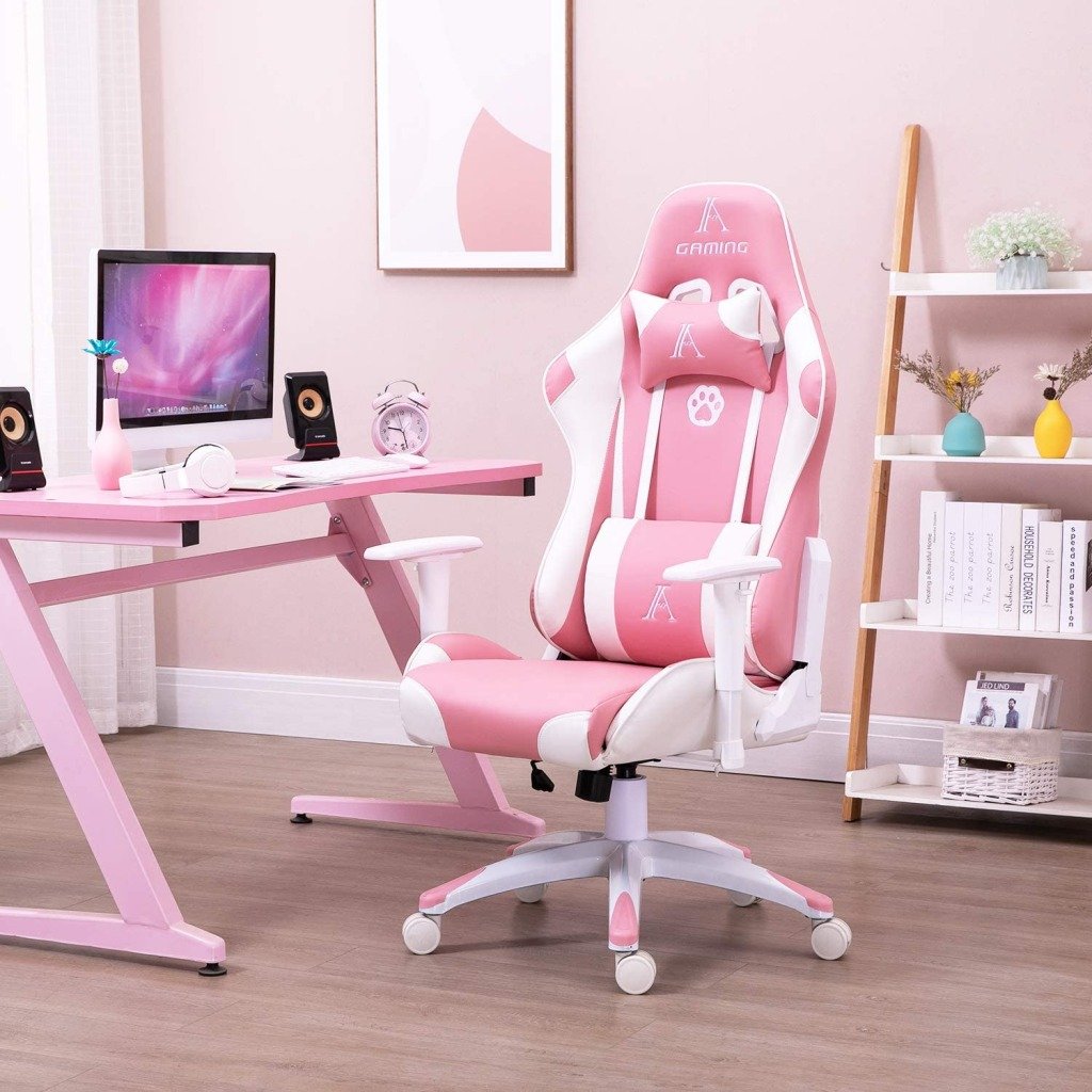 Pink girls gaming chair