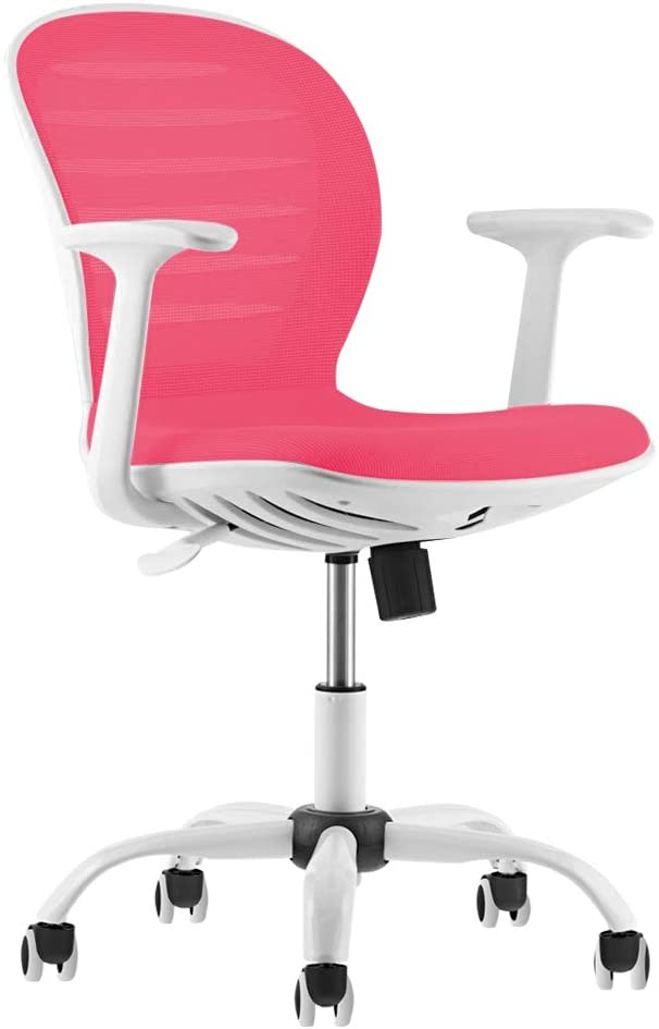Mid back pink ergonomic chair for gaming